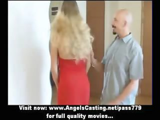 bewitching pleasant golden-haired wife talking in