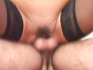 sexy euro brunette hair granny banging in