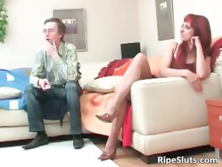 aged hawt redhead bitch engulf on large dick part1