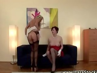 golden-haired lesbo in nylons eats older european