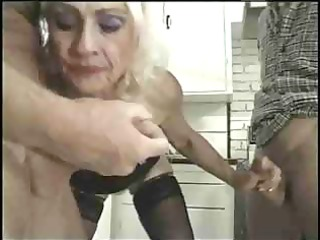 golden-haired little titted granny copulates trio