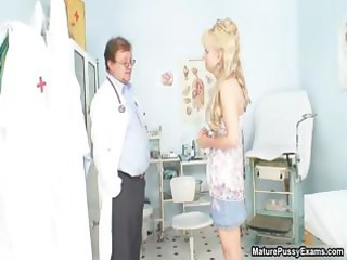 excited doctor abased a older golden-haired mommy