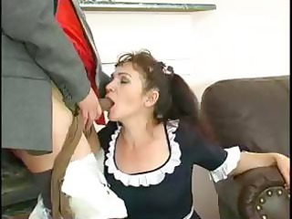 Plump mature maid Lillian puts her pantyhose on