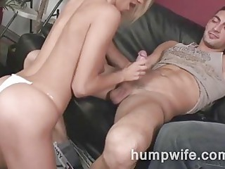 cuckold wife sucks while spouse watches her have