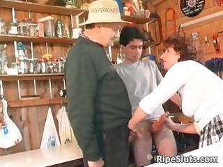 lascivious aged receives puss screwed by one part3