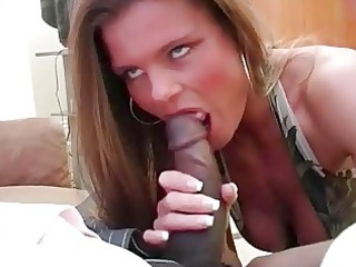concupiscent golden-haired floozy wife slurps on