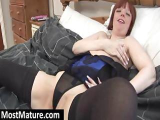 plumper mature redhead in underware positions and
