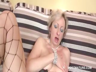 blond floozy bonks her older lustful pussy with