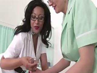 older lascivious nurses receive to work on trio