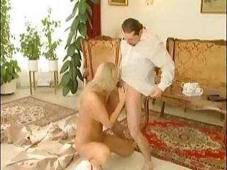 hot blond milf, mandy bright deepthroats a dick