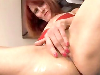 redhead older in the kitchen