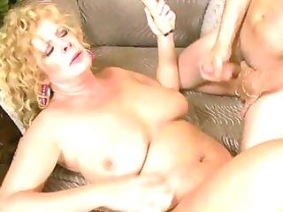 breasty older lady slurps on massive fat prick