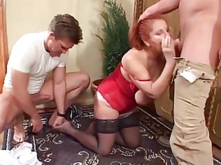 6 youthful guys double team saggy tittied redhead