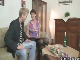 naughty granny jumps on inflexible meat