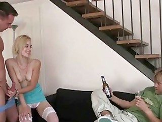 marvelous blond wife cuckold threeway and she is
