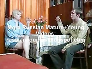 russian mama and guy having a gulp