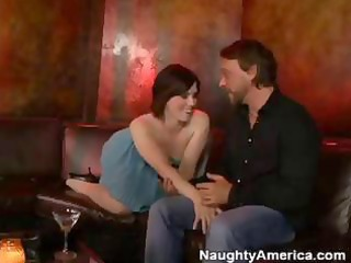 mature redhead angel in the bar has a drink then