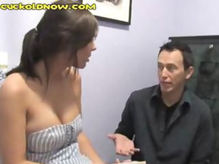 cuckold hubby hides behind the plant and watches