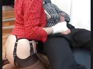 sexy aged in nylons gives footjob