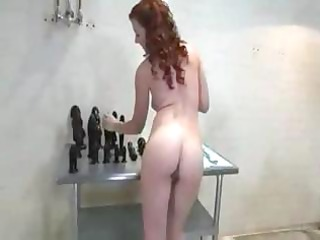 wicked aged redhead stuffs and stretches her