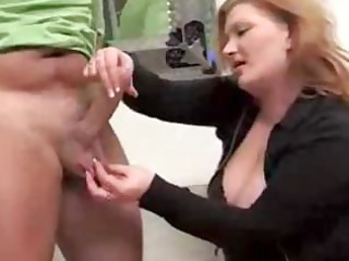 older redhead gives this dude a cook jerking