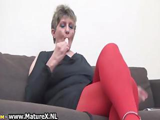 horny older woman in red nylons part6