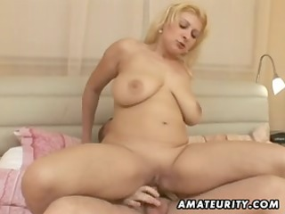 Corpulent non-professional wife fucking with