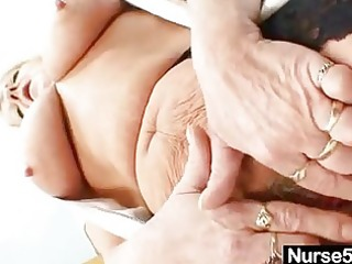grandma in uniform widens blonde curly vagina