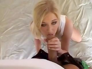 sexy breasty golden-haired milf munches on his