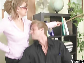 he is copulates older office slut