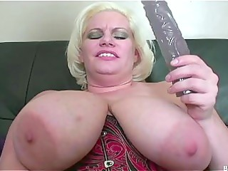 breasty aged plays with a beaver
