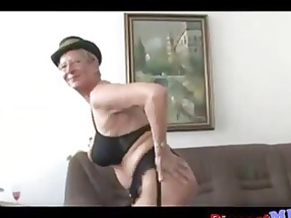 messy euro granny with glasses receives drilled