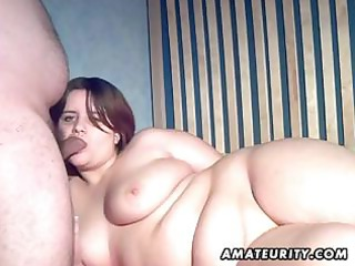 chubby non-professional dark brown wife eats dong