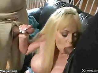 golden-haired wife double penetration in front of