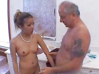 old man blown by hawt oriental gal in shower 11