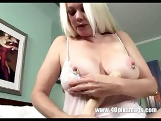 blond excited grandma in teasing solo