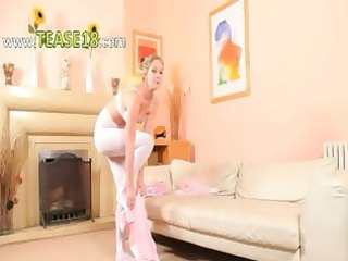 hot mamma in white hose posing