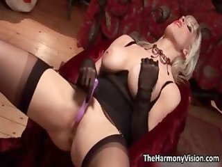 lewd golden-haired milf with large breasts toying