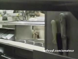 chef geek wifey is sex drilled in kitchen by her