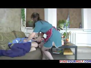 dark brown russian mama in stockings wakes him up