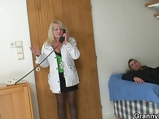 nasty granny in nylons rides dong