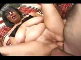 granny taking a rod in her face hole and getting
