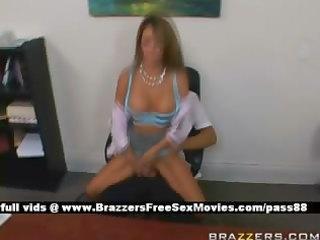 older breasty redhead slut at work on a chair