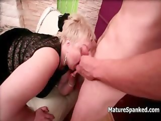 overweight blond older wife acquires spanked