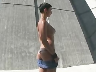 d like to fuck flashes her large wobblers and