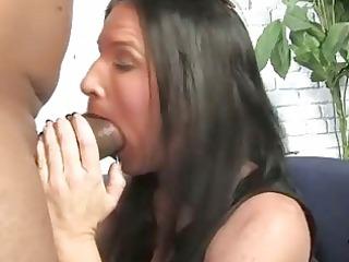 brunette hair mother gets boned by a big darksome