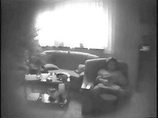 mummy masturbating in living room. hidden cam
