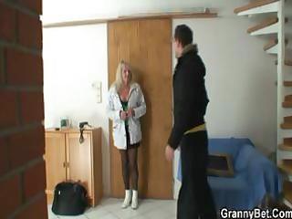blond grandma in dark nylons copulates