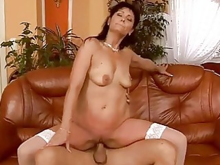 aged brunette has sexy sex with her juvenile lover