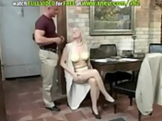 blond granny in nylons sucks cock and then gets